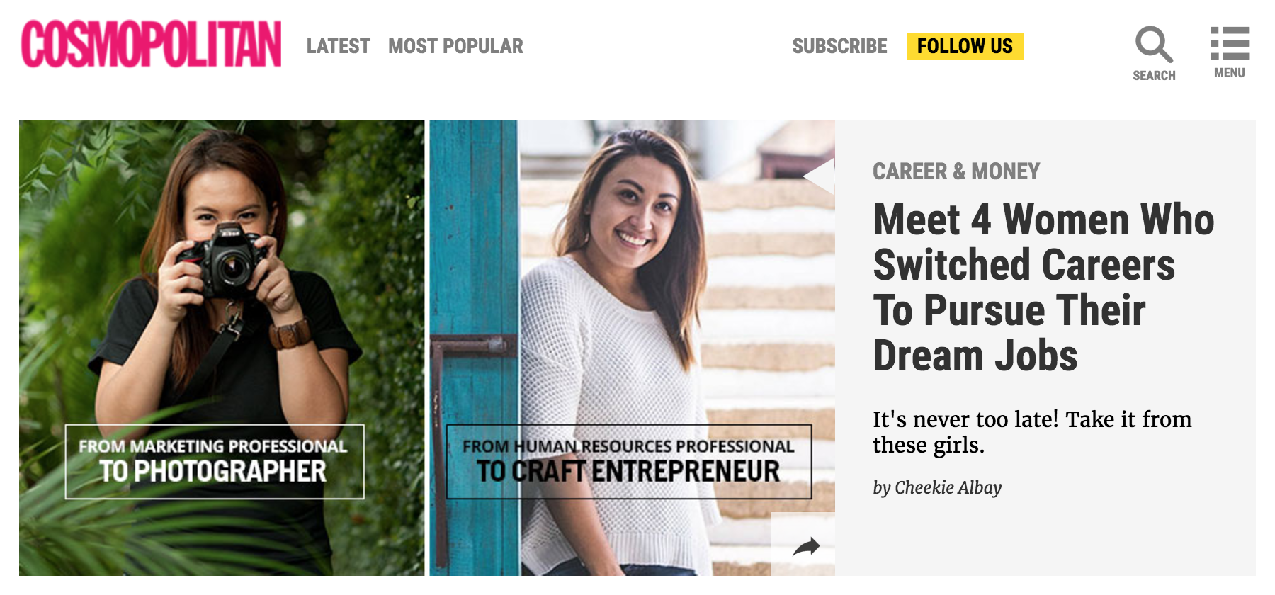 I Try DIY   Cosmo.ph: Meet 4 Women Who Switched Careers To Pursue Their Dream Jobs