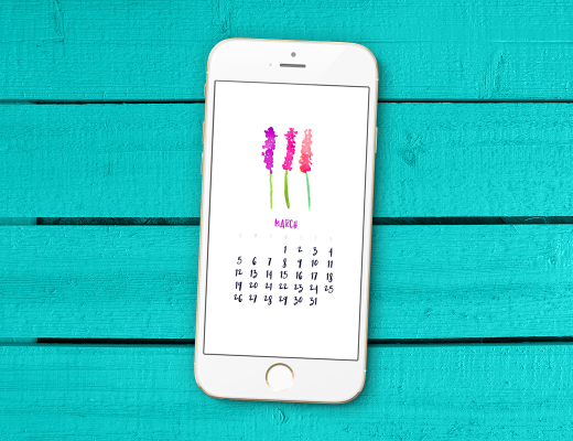 March 2017 Smartphone Wallpaper Calendar